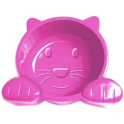 Comedouro Plástico Pet Injet Cat Face 600 mL - Rosa