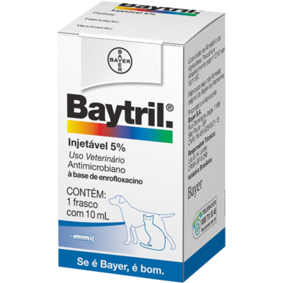 Antimicrobiano Baytril injetável 5% - 10 mL